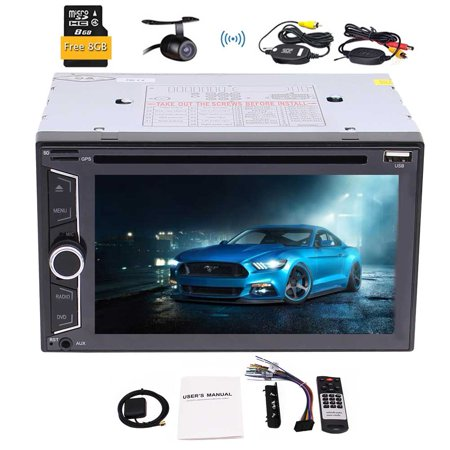 3 types of UI optional + Double Din Car headunit Electronics DVD CD Player Support 1080P Video Bluetooth GPS Navigation Digital Capacitive Touch Screen with Free GPS map card + Wireless Backup Camera (Gps Navigation Free)