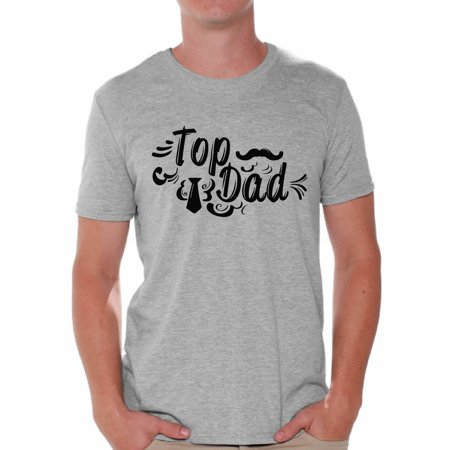 Awkward Styles Top Dad Men's T Shirt Tie And Moustache Graphic T-shirt Tops for Men Cute Father`s Day Gift Best Dad Shirts Father Tshirt Gifts from Wife Top Dad Shirt for Men Daddy Tee