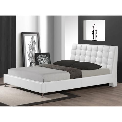 Baxton Studio  Zeller White Modern Bed with Upholstered H...