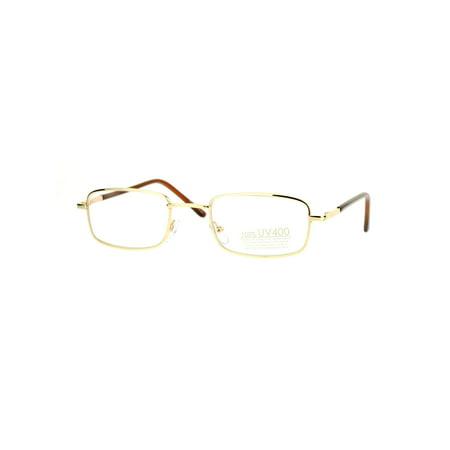 9218bcea9d1 SA106 Spring Hinge Mens Snug Narrow Rectangular Metal Rim Eyeglasses Gold -  Walmart.com