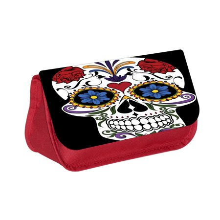 Sugar Skull Print Design -  Red Cosmetic Case - Makeup Bag - with 2 Zippered - Sugar Skull Makeup