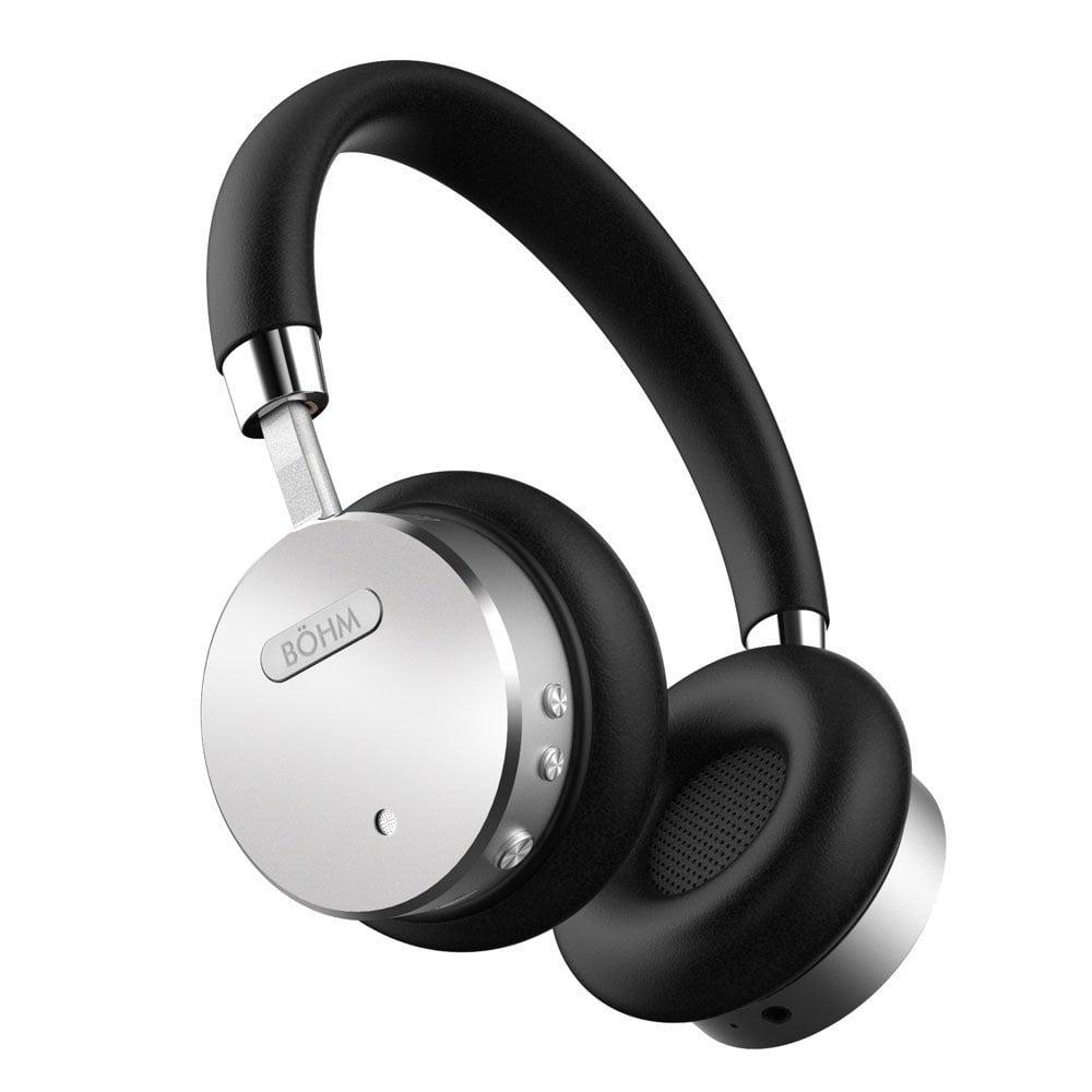 Bohm B 66 Wireless Bluetooth Headphones With Active Noise Cancelling Headphones Technology Features Enhanced Bass Inline Microphone 18 Hour Max Battery Black Silver Walmart Com Walmart Com