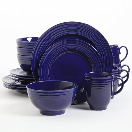 Stanza 16 Piece Dinnerware Set (Blue), Sets Include: 4 Piece 10.5 Inch Dinner Plate, 4 Piece 8.5 Inch Dessert Plate, 4 Piece 6 Inch Cereal Bowl, 4 Piece 15oz.., By Gibson Home Ship from US