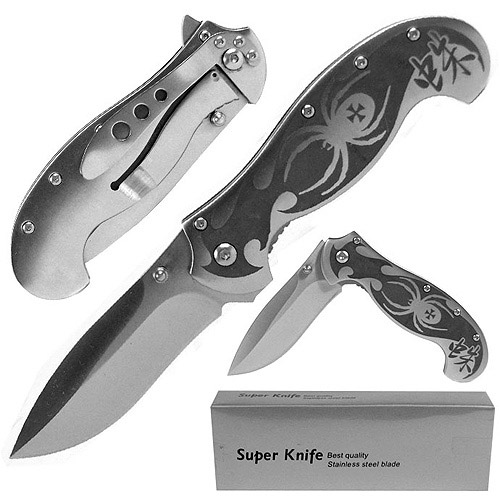 Whetstone Deluxe Silver Spring Assist Stainless Spider Locking Folder, Silver