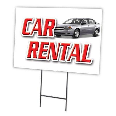 Car Rental 18 X24  Yard Sign   Stake Outdoor Plastic Coroplast Window