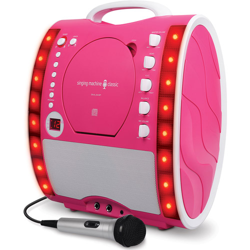 Singing Machine Portable Plug and Play CD+G Karaoke System with Microphone and Disco Lights, Pink