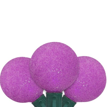 Set of 10 Battery Operated Sugared Purple LED G50 Christmas Lights - Green Wire - image 1 de 1