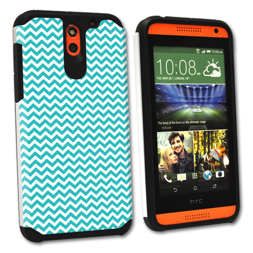 MightySkins Protective Bumper Case Cover for HTC Desire 610 hybrid tpu rubber plastic Turquoise Chevron