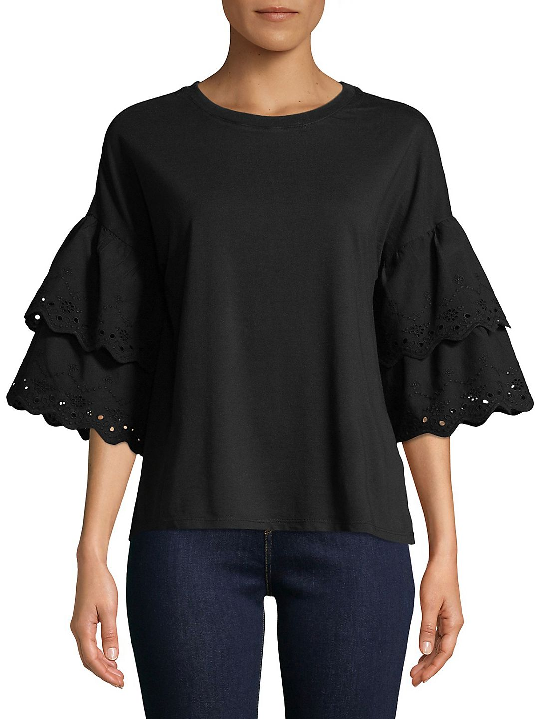 Tiered Eyelet Cotton Blouse
