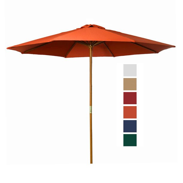 9 ft bright orange patio umbrella outdoor wooden market umbrella