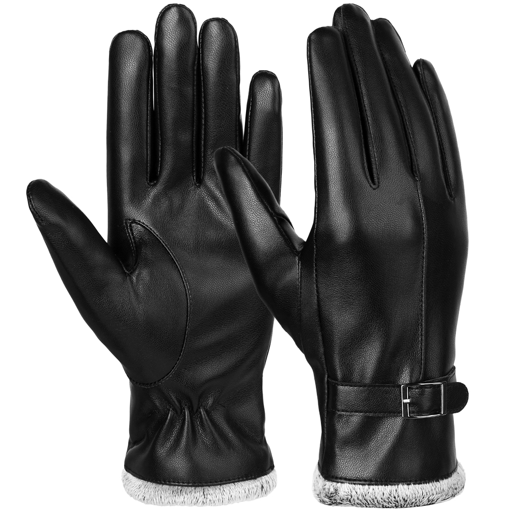91e85cf37905c Womens Leather Gloves-Allcaca Women s Leather Gloves Touchscreen Texting  Genuine Leather Glove Winter Warm Simple Plain Cashmere   Wool Blend Lined  Gloves