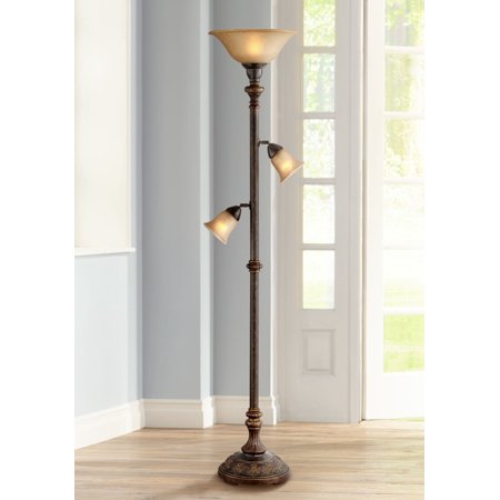 Barnes and Ivy Traditional Torchiere Lamp 3-in-1 Design Italian Bronze Amber Glass Bowl Dimmable for Living Room Reading -