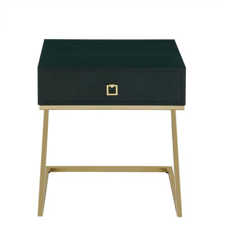 Chic Home Cordoba Nightstand Side Table with Self Closing Drawer Ash Veneer Brass Finished Metal