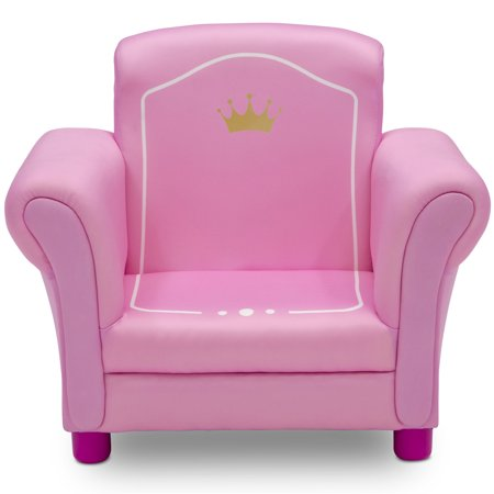 Princess Chair - Delta Children Princess Crown Kids Upholstered Chair, White/Pink