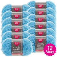 Red Heart Scrubby Sparkle Yarn - Icepop, Multipack of 12