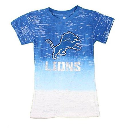 Football Nfl Shirt (Detriot Lions NFL Football Youth Girls Burnout Short Sleeve Shirt, Blue )