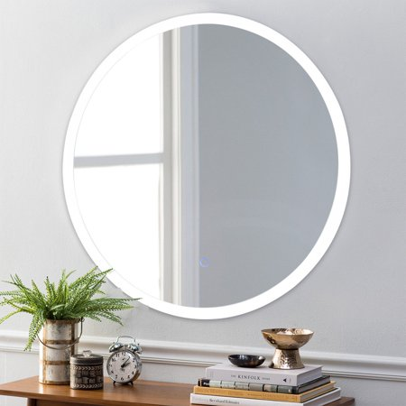 Costway 24'' LED Mirror Illuminated Light Wall Mount Bathroom Round Make Up Touch (Mirror Mount)