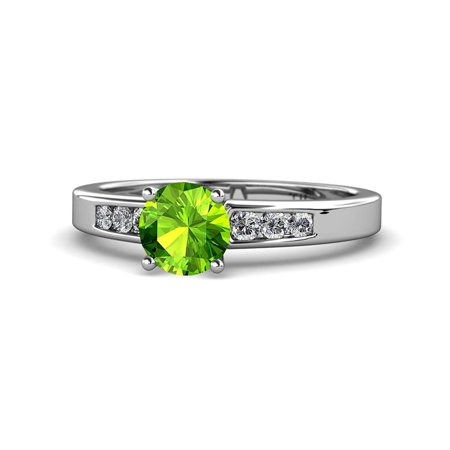 Peridot and Diamond (SI2-I1, G-H) Engagement Ring 1.31 Carat tw in 14K White Gold.size 4.5