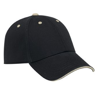 OTTO Garment Washed Cotton Twill Sandwich Visor Low Profile Baseball Cap - (Cotton Washed Twill Sandwich)