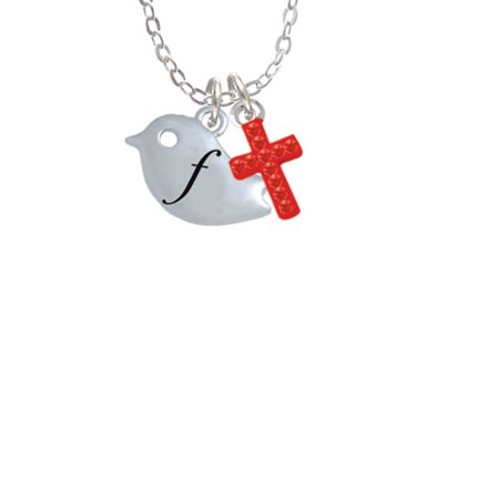 Little Bird Initial - F -  - Red Crystal Cross Sophia Necklace, 18