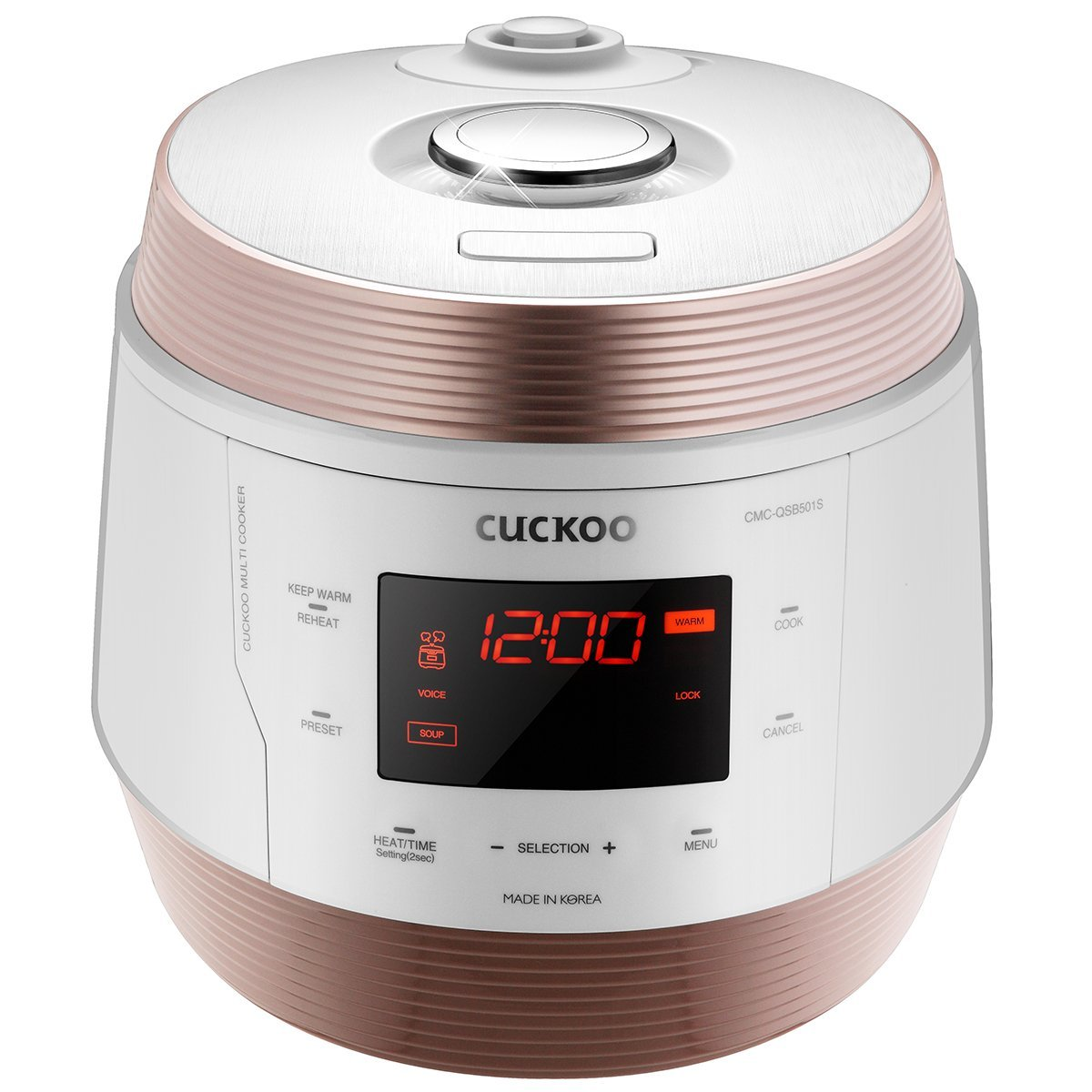 Cuckoo 8 in 1 Multi Pressure cooker (Pressure Cooker, Slow Cooker, Rice Cooker, Browning Fry, Steamer, Warmer, Yogurt Maker, Soup Maker) Stainless Steel, Made in Korea, White, CMC-QSB501S
