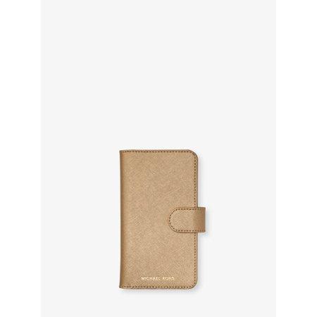 db3dfd120342 Michael Kors Metallic Saffiano Leather Folio Case For iPhone X