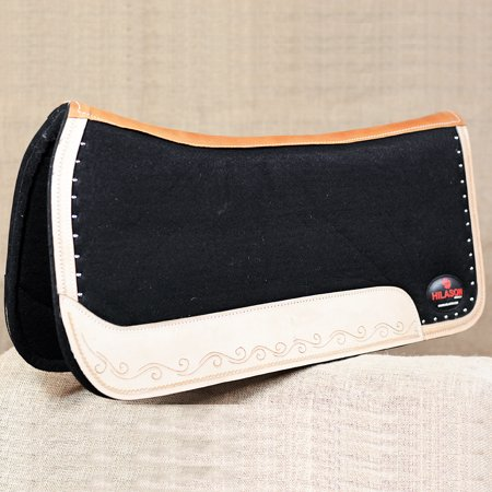 FP815F- HILASON WESTERN WOOL FELT GEL SADDLE PAD W/ GENUINE WEAR LEATHER - BLACK