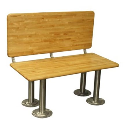 Wisconsin Bench Manufacturer LBSADA2048SS 20 in. x 4 8 in. ADA Locker Bench Seat Kits With 18 in. Backrest, Stainless Steel 16.25 in. H Pedestals Bench Seats Full Kit