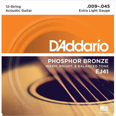 EJ41 12-String Phosphor Bronze Acoustic Guitar Strings, Extra Light, 9-45, Extra light gauge 12-string set, ideal for heavy strumming and a.., By D'Addario