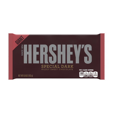 - HERSHEY'S SPECIAL DARK Mildly Sweet Chocolate Bar, Giant, 6.8 Ounces (Pack of 3)