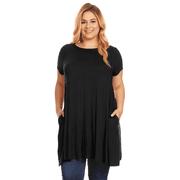 Womens Plus Size Short Sleeve T Shirt Dress Trapeze Tunic Dress with Pockets USA