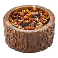"30 oz Round Natural Acacia Serving Bowl - Varnished, Bark Edges - 6"" x 6"" x 3"" - 1 count box"