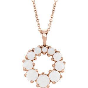 14K Rose Opal Halo-Style Necklace by