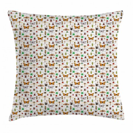 Educational Throw Pillow Cushion Cover, Wild Forest Nature Insects and  Names Pattern as Grasshopper Wasp and Beetles, Decorative Square Accent  Pillow