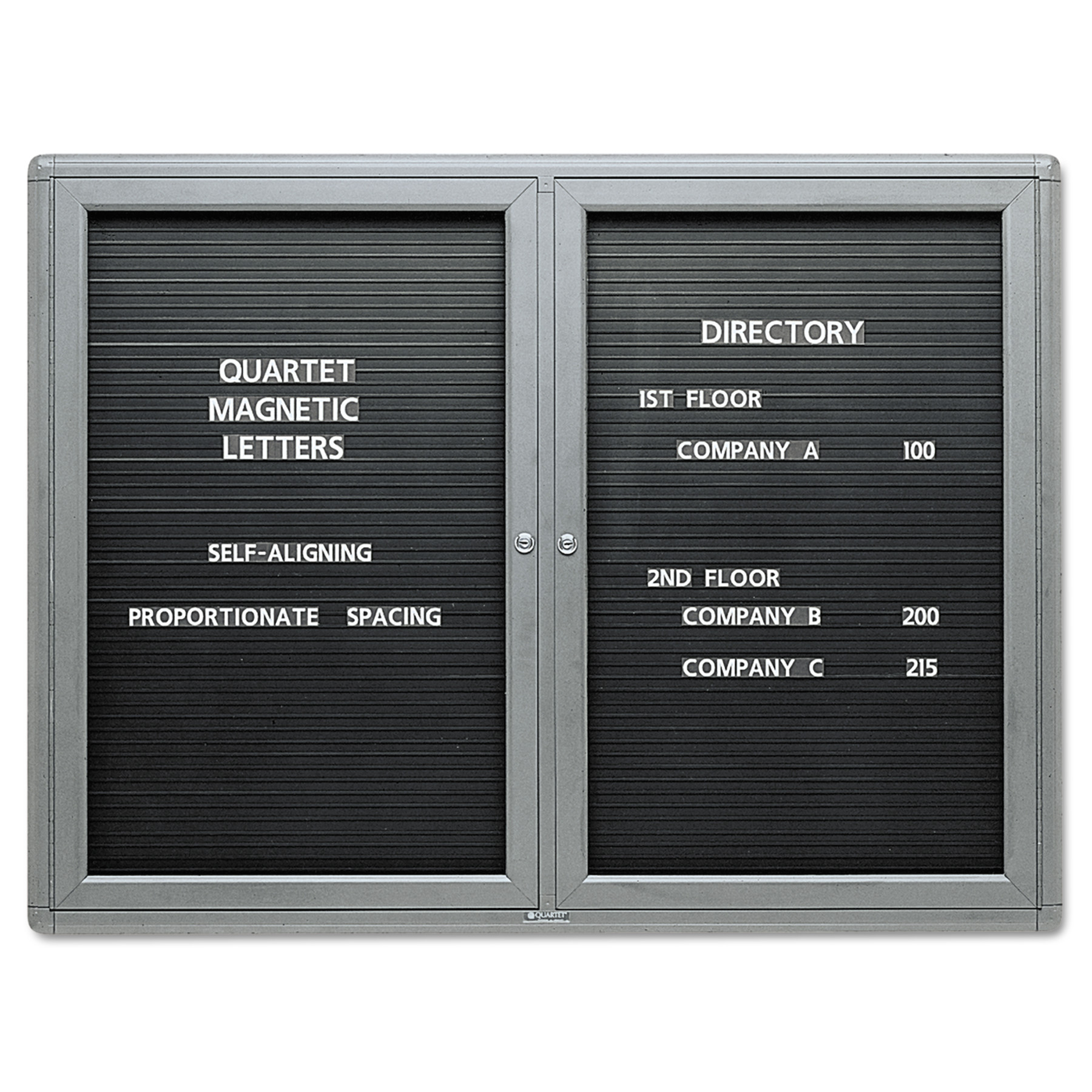 Quartet Enclosed Magnetic Directory, 48 x 36, Black Surface, Graphite Aluminum Frame -QRT2964LM