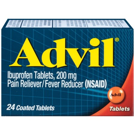 Ibuprofen Pain Reliever - Advil (24 Count) Pain Reliever / Fever Reducer Coated Tablet, 200mg Ibuprofen, Temporary Pain Relief