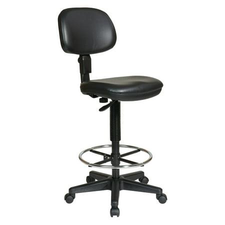 Economical Vinyl Adjustable Drafting Chair, Black Vinyl
