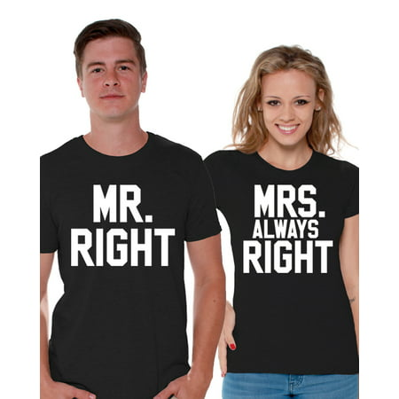 Awkward Styles Mr. Right Mrs. Always Right Couple Shirts Matching Mr and Mrs T Shirts for Couples Valentine's Day Outfit Gift for Husband and Wife Funny Couple Shirts Anniversary Gifts for