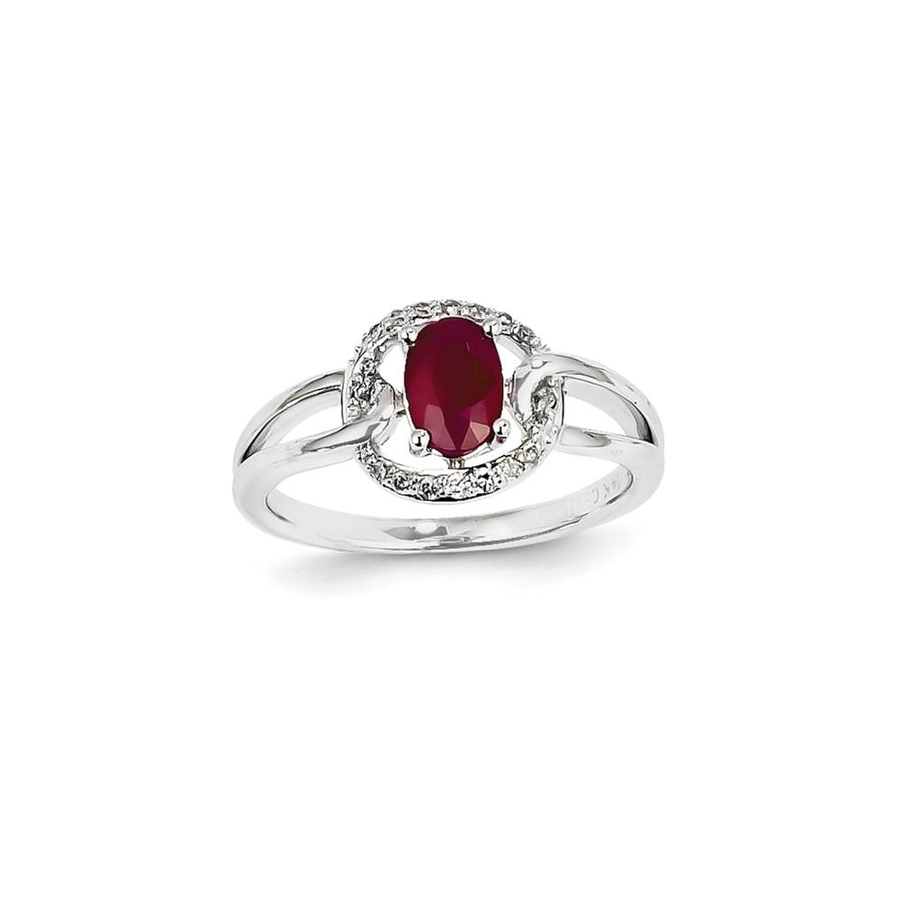14k White Gold Diamond & Oval Ruby Gemstone Ring