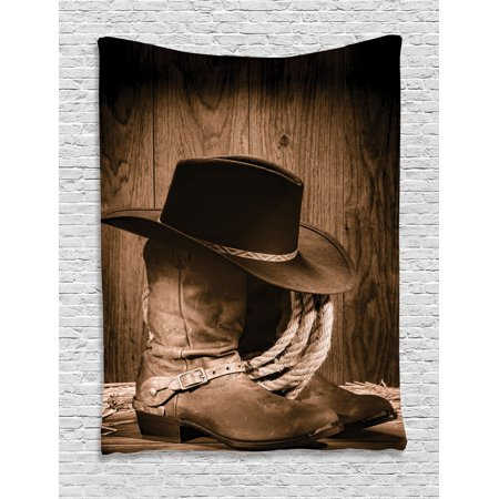 147b53b2e749 Western Tapestry, Wild West Themed Cowboy Hat and Old Ranching Rope On  Wooden Display Rodeo Cowboy Style, Wall Hanging for Bedroom Living Room  Dorm ...