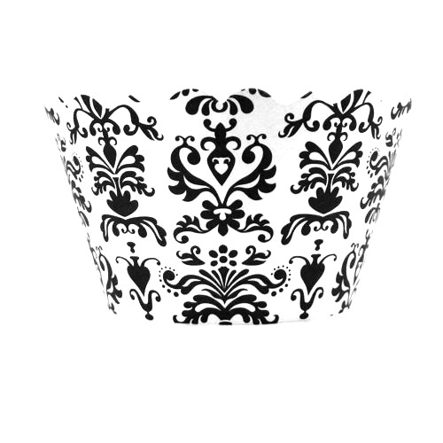 Bella Cupcake Couture Lu Lu Cupcake Wrappers - Damask - Black/White