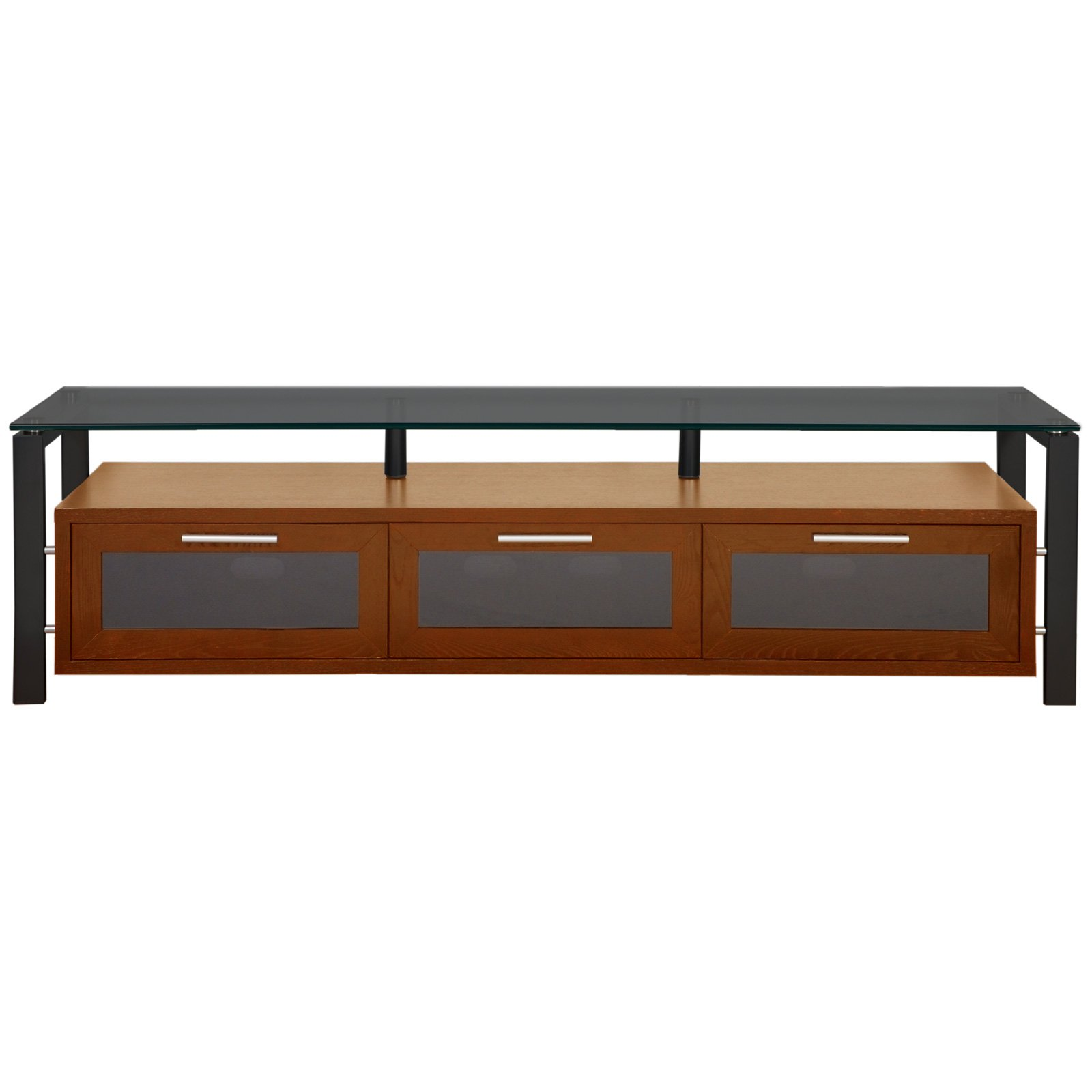 Plateau Decor 71 Inch TV Stand in Walnut/Black and Black
