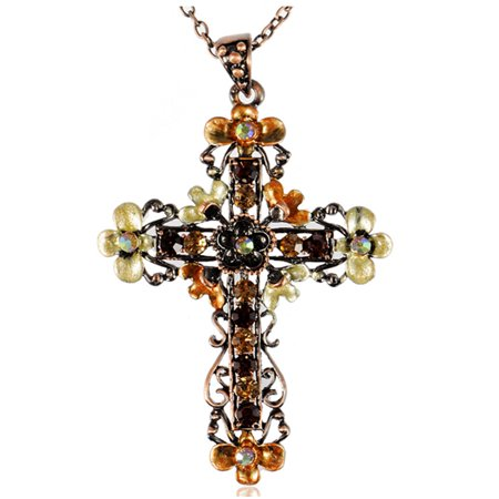 - Womens Special Orange Topaz Crystal Rhinestone Flower Floral Cross Necklace