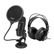 Blue Yeti Microphone (Blackout) with Knox Gear Headphones and Pop Filter