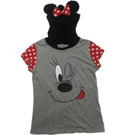 Disney Junior Halloween (Junior Womens Disney Minnie Mouse Halloween Tee Shirt Hooded Mouse Ear)