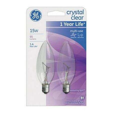 G E Lighting 74974 15 Watt Ceiling Fan Light Bulbs Candelabra Base
