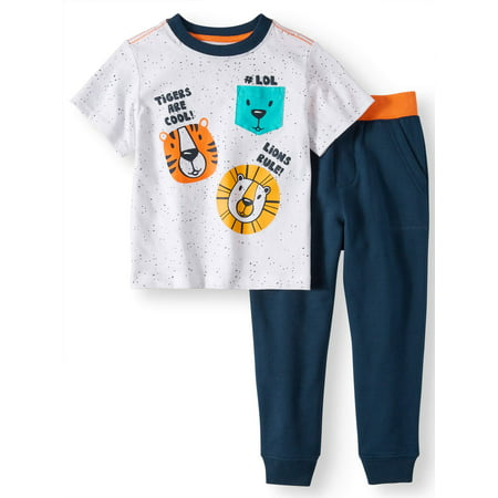 Wonder Nation T-Shirt & Jogger Pants, 2pc Outfit Set (Toddler Boys) (First Communion Outfit For Boys)