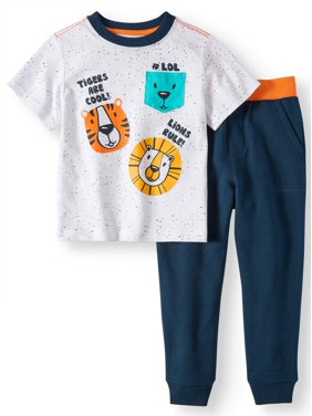 b8886d8b3 Product Image Wonder Nation T-Shirt & Jogger Pants, 2pc Outfit Set (Toddler  Boys)