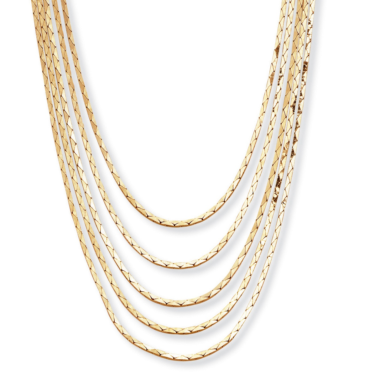 Multi-Strand Cobra-Link Waterfall Necklace in Yellow Gold Tone 30""