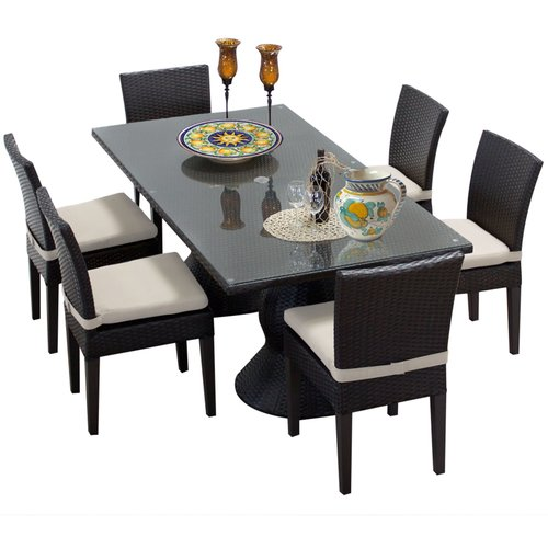 TK Classics Napa Wicker 7 Piece Rectangular Patio Dining Set with 12 Cushion Covers
